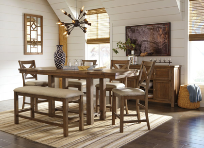Picture of Moriville Pub Table, 4 Stools & Bench
