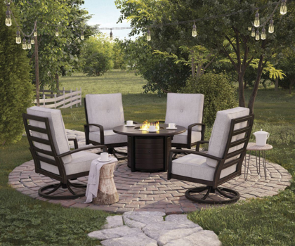 Picture of Castle Island Patio Fire Pit & 4 Chairs
