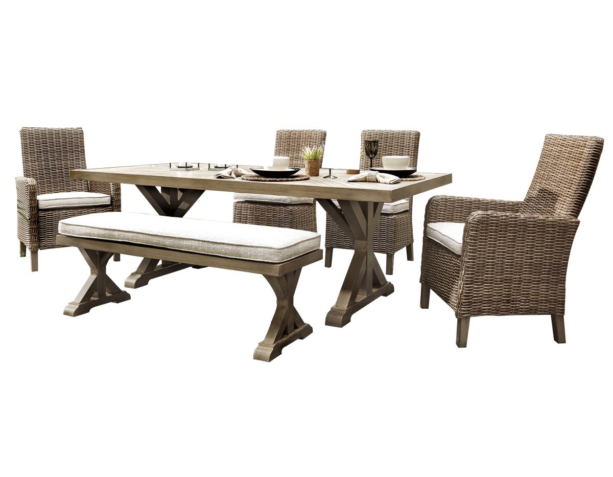 Picture of Beachcroft Patio Table, 4 Chairs & Bench